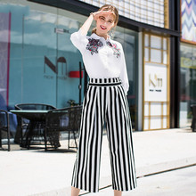 Pants Suit 2018 Women Autumn Fashion Embroidered Lantern Sleeved Cotton White Shirt + Striped Loose Mid-Calf Two Piece Set
