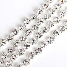 1Yard Clear Crystal Rhinestone Chain Applique Trim Bridal Dress Sewing Crafts AIWUJIA Handcraft 2017 New