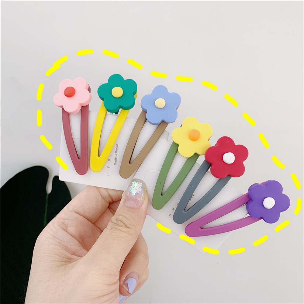 Fashion Women Girls Cute Flower Resin Hair Clip BB Hairpins Metal Barrettes Hair Holder Styling Tools Hair Accessories