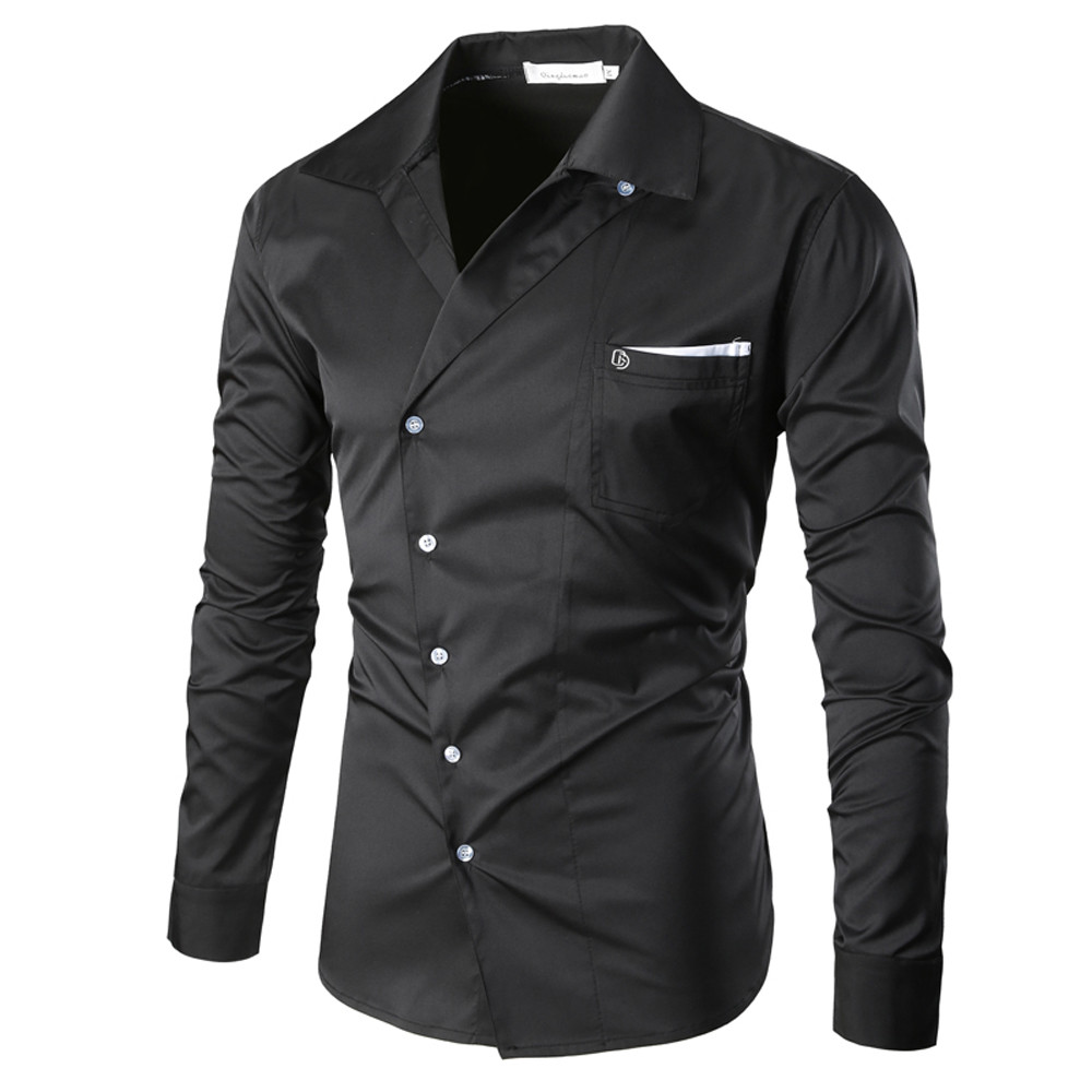 Men's Autumn Casual Slim Fit Cotton Shirt Top Blouse Turn Down V Neck Solid Colors Long Sleeve Blusas For Man With Button Pocket