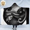 Yinyang Cat Morning by KhaliaArt одеяло с капюшоном  с принтом пейсли  шерпа  флисовое переносное одеяло  черное  белое  Тай Чи Манта