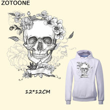 ZOTOONE Rose Skull Iron On Patches Thermal Transfer Printed Heat Vinyl For T-shirts Clothes Decoration Wholesale D