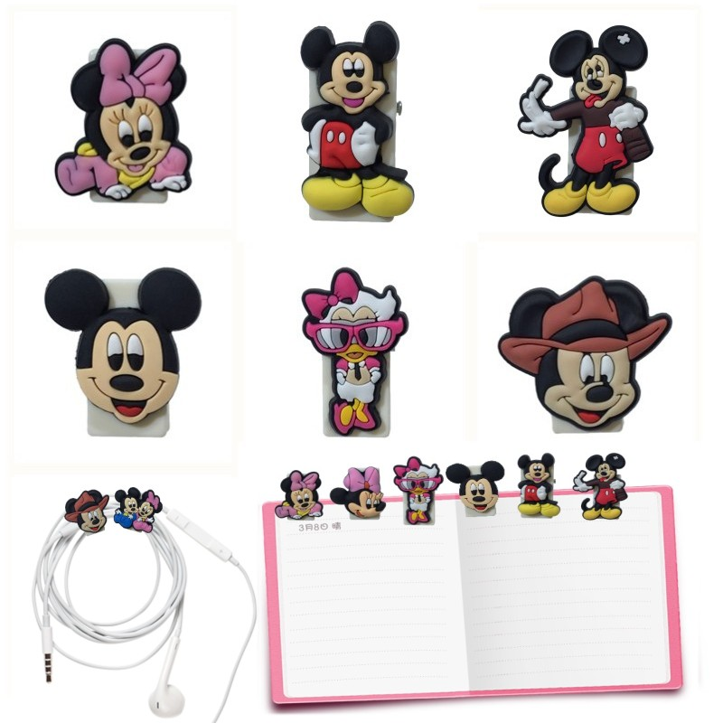 5pcs Mickey Cartoon Mini Bookmarks For Books School Office Supply Cute Minnie Paper Clips USB Phone Cable Clips DIY Gift
