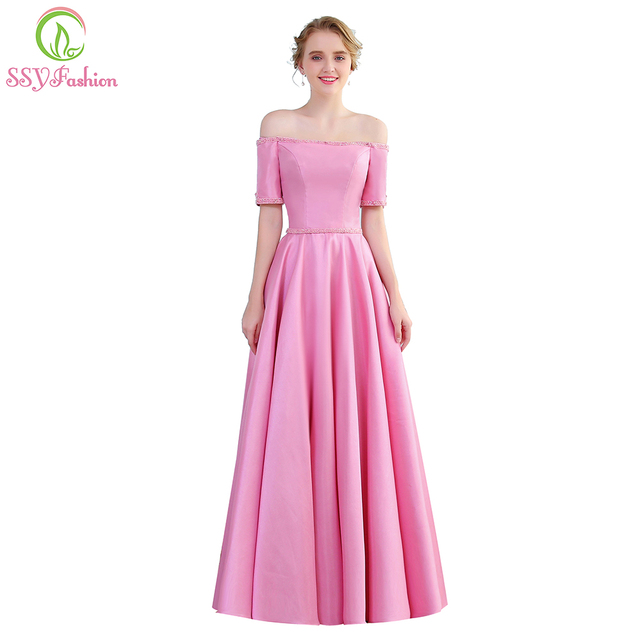 70643882d2b SSYFashion Luxury Simple Pink Satin Evening Dress Boat Neck Short Sleeves  Floor-length Beading Banquet Elegant Formal Party Gown