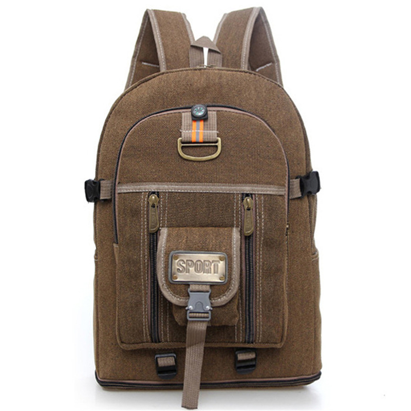 ФОТО American Style New Fashion Unisex Backpack Large Capacity Canvas Rucksack Men's Travel Bag Student Schoolbag