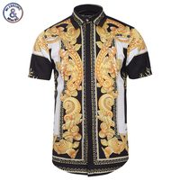 Mr 1991INC Palace Golden Flowers Shirts Men 3d Shirts Short Sleeve Summer Brand Shirts Fashion Tops