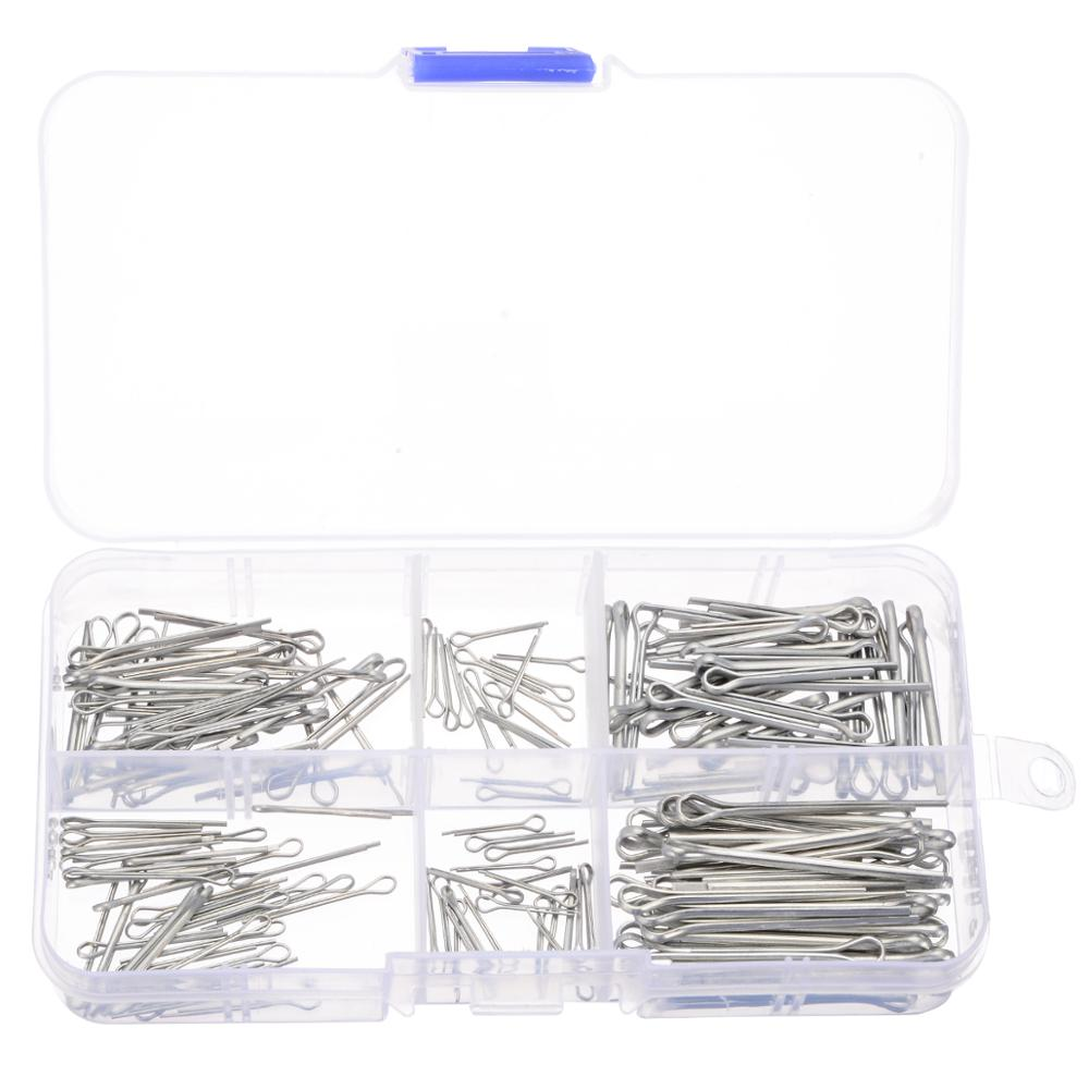 175pcs Sliver Split Pins Cotter Fixings Assorted Sizes Zinc Plated Steel Hard Case Fastening Pins With Plastic Box