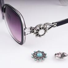 Women  Retro 18mm Snap Button Sunglasses
