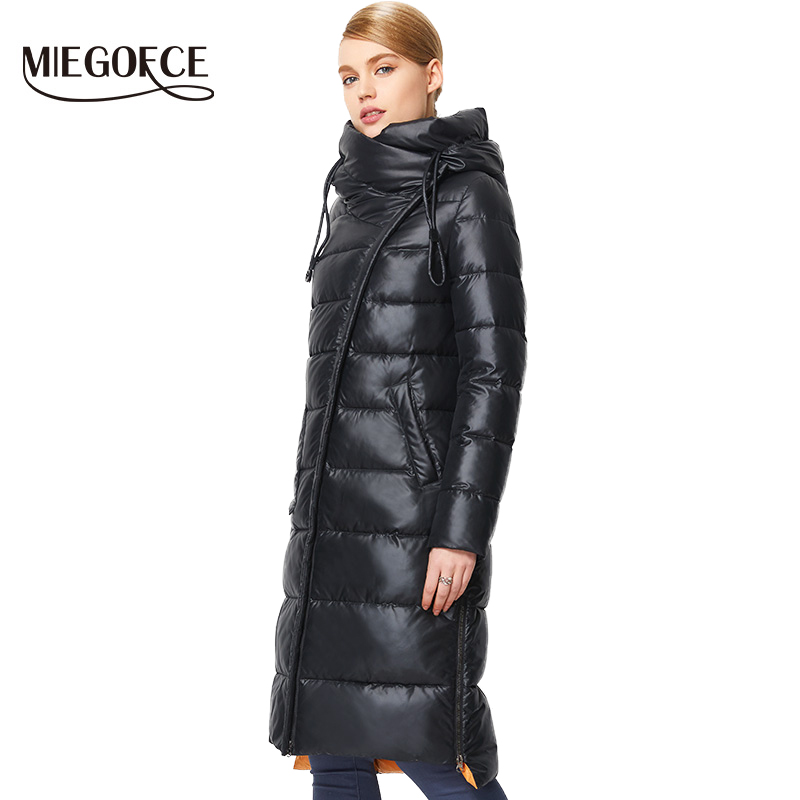 Fashionable Coat Jacket Women's Hooded Warm Parkas Bio Fluff Parka Coat Hight Quality Female MIEGOFCE 2018 New Winter Collection