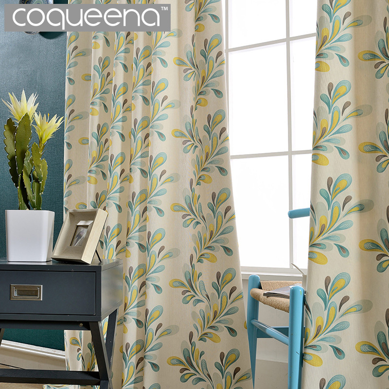 Luxury Print Floral Country Style Window Curtains For