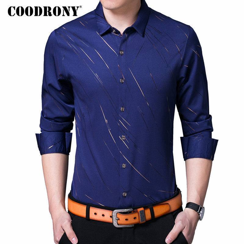 COODRONY Casual Shirts Long Sleeve Shirt Men Dress Brand Clothes 2019 Autumn New Arrivals Cotton Camisa Masculina Plus Size 8742