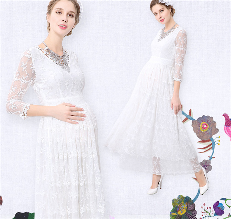 Maternity White Lace  Photography Props Long Dress Pregnant Women Elegant Fancy Photo Shoot Studio Clothing Maternity dresses maternity pregnant women photography fashion props long dress white romatic see through personal portrait nightdress size s l