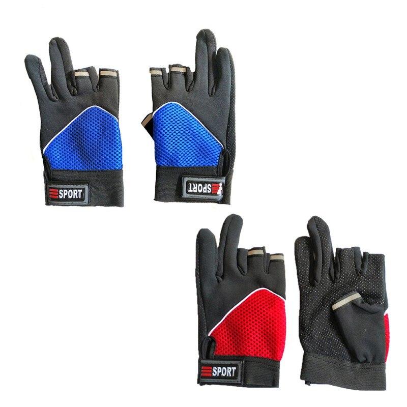 3 Cut Finger Sport Fishing Gloves Lightweight Breathable Anti Slip UV Protection Outdoor Autumn Winter Handwear Sportswear