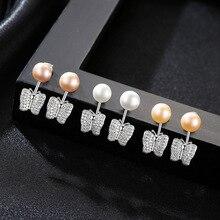 цена на YUEYIN Silver 925 Stud Earrings 7-7.5mm 100% Nature Pearl Earrings AAA Zircon Butterfly Earrings Elegant Party Jewelry