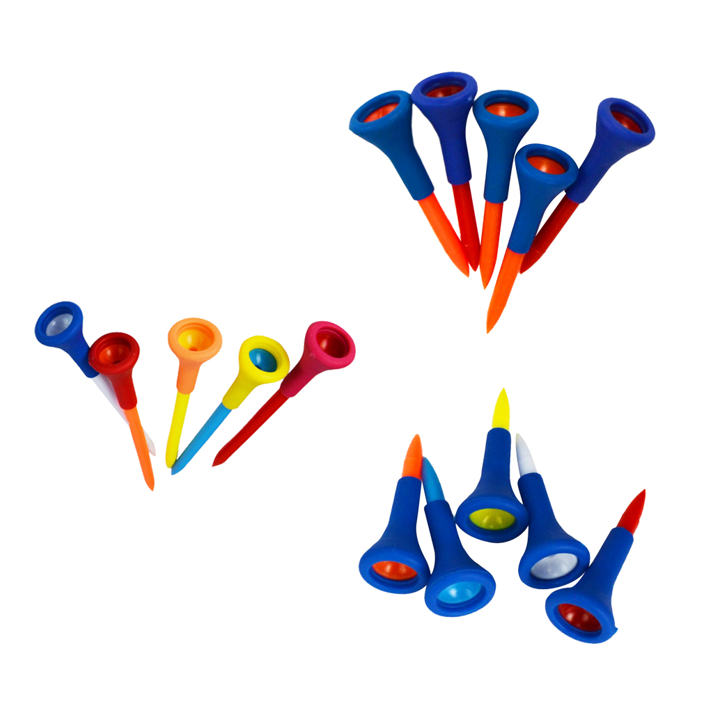 New Rubber Cushion Top Plastic Golf Tees Mixed Length Random Color, Set Of 15, Durable And Lightweight