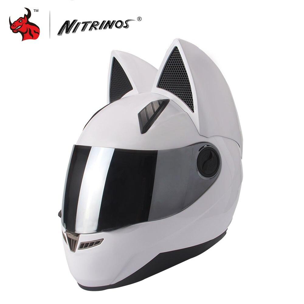 NITRINOS Moto Casco Delle Donne Degli Uomini di Personalità del Gatto Casco Capacete De Moto Bianco Pieno Viso Caschi Da Corsa M/L/ XL/XXL