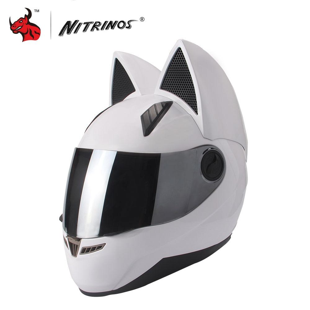 NITRINOS Motorcykelhjälm Män Kvinnor Personlighet Katthjälm Capacete De Moto White Full Face Racing Hjälmar M / L / XL / XXL