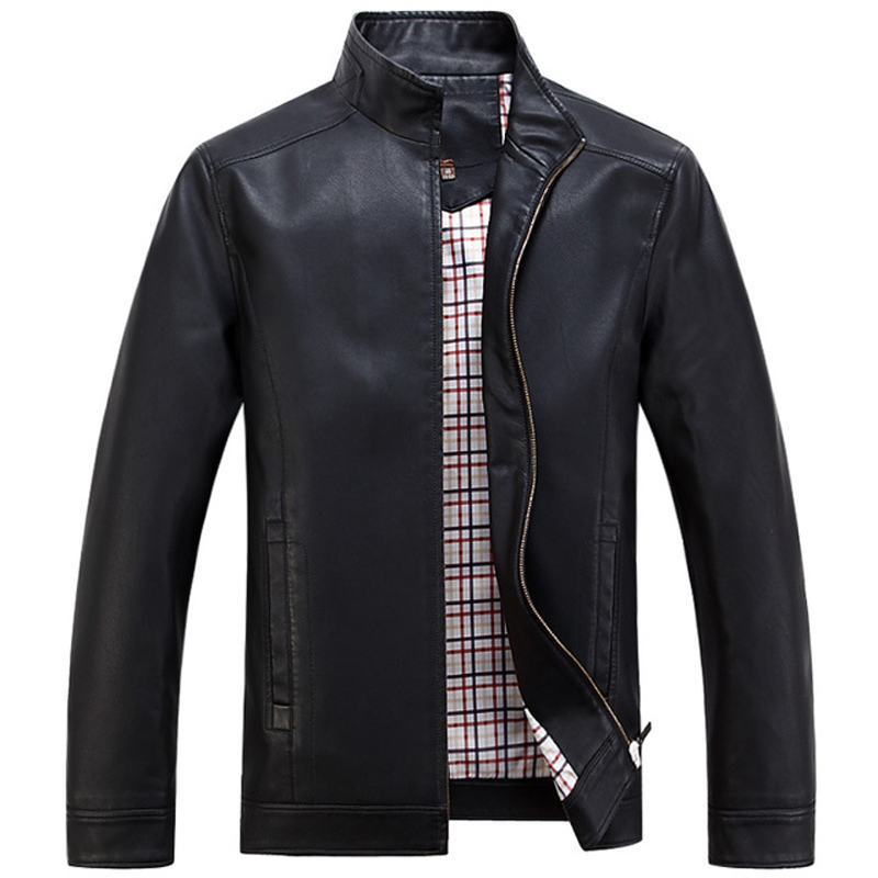 Spring New Casual High Quality Leather Jacket Men Stand Collar Black Coffee Colors Jaqueta De Couro Masculino