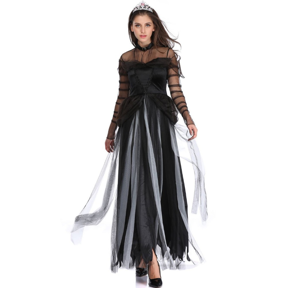 High Quality Scary Costume Ghost Bride <font><b>Halloween</b></font> Costume <font><b>Sexy</b></font> <font><b>Women</b></font> Soft Dress Vampire <font><b>Witch</b></font> Cosplay Carnival Costume image