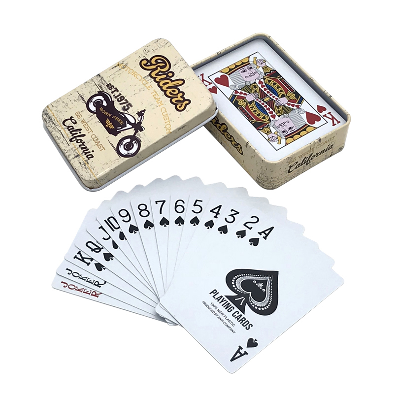 Hot High Quality Tinplate Box PVC Bridge Poker Waterproof Plastic Texas Hold'em Playing Cards Creative Pattern Gifts Board Games