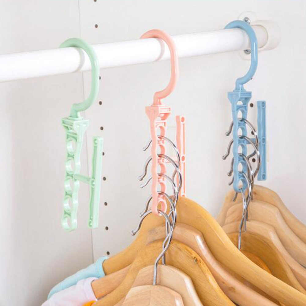 Plastic 5 Circle Multilayer Windproof Clothes Hanger Organizer Fixed Holder Storage Racks Buckle Hanger Anti-Slip Home Dropshipp