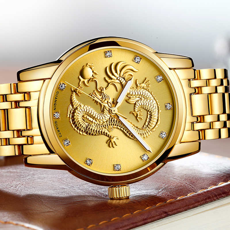 6be4137d ... Часы GUANQIN для мужчин Золотой Дракон Мужские часы лучший бренд класса  люкс водостойкий кварцевые наручные часы ...