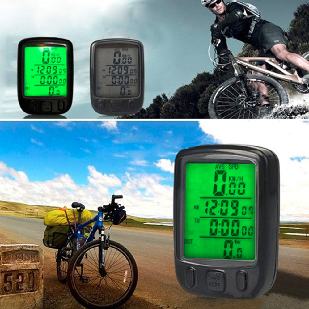 Waterproof LCD Display Cycling Bike Bicycle Computer Odometer Speedometer Green Backlight Computer Equipment Drop Shipping 1 5 lcd electronic bicycle computer speedometer blue white 1 x lr1130