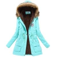 2017 mùa đông áo khoác phụ nữ bông áo khoác áo khoác nữ mỏng áo trùm đầu mùa đông dài bông độn cổ áo lông thú parkas cộng với kích thước