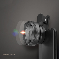 2 in1 Design Aluminum Alloy Professional 0.45X Wide-angle and 10X Macro Smartphone Camera Lens Universal Clip Easy Lens