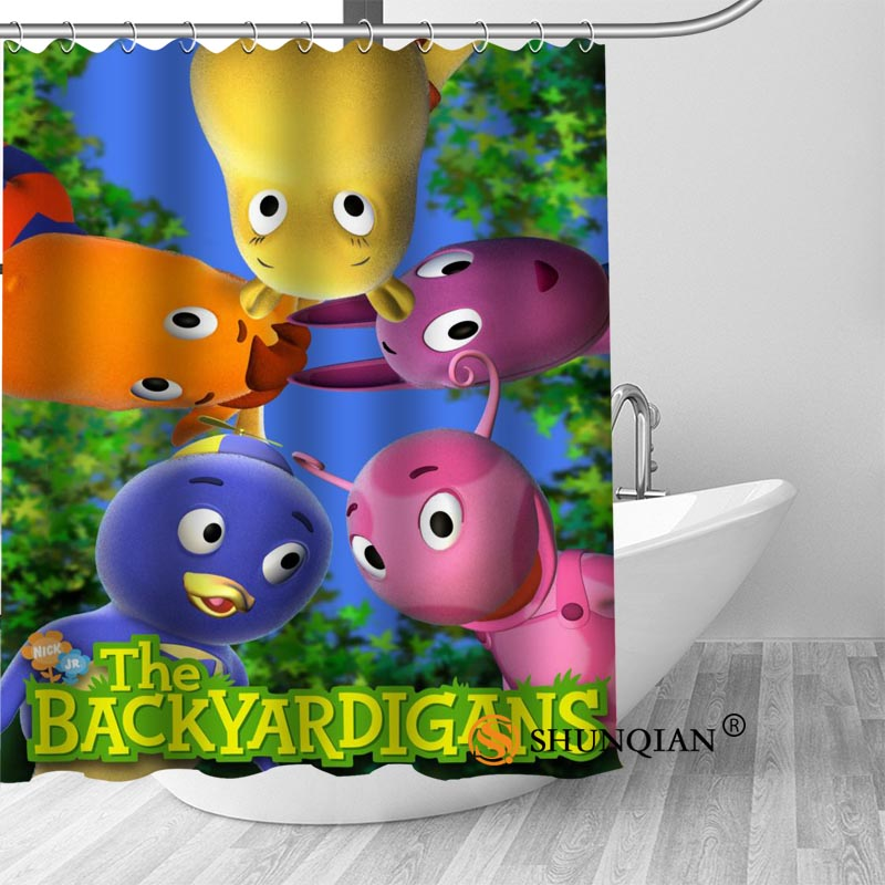 Custom Backyardigans Modern Shower Curtain Bathroom Waterproof Polyester Fabric Printing Bathroom Curtain With Hook