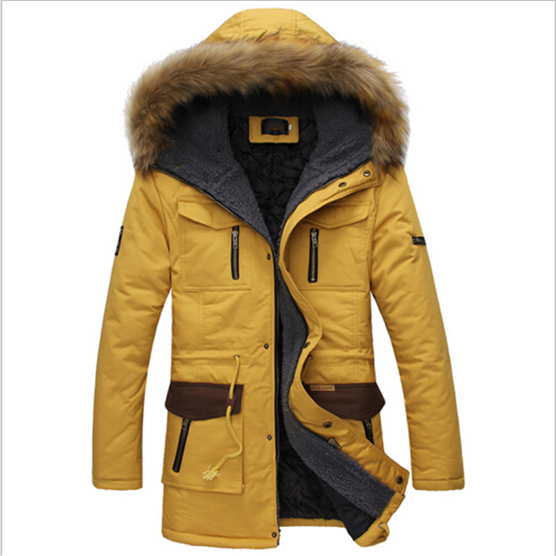 New 2016 Winter Cotton Coat Men Wadded Jacket Fur Collar Hooded Slim Men's Parkas Thick Warm Male Snow Overcoat Plus Size W141  new 2017 plus size warm thick cotton hooded jacket men winter air force one military overcoat men s coat male gray and blue