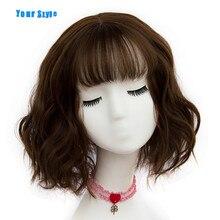 Ваш стиль 43 цвета синтетический короткий волнистый боб парики женские коричневый черный натуральные волосы парики женские термостойкие волокна