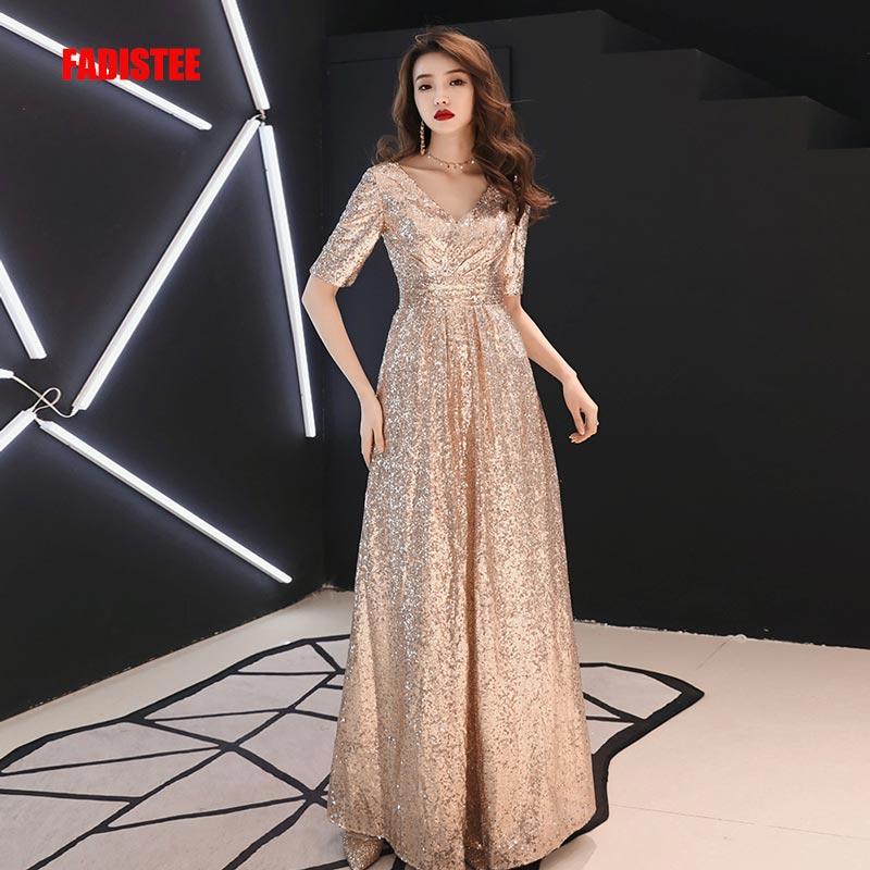 f81ee4832bf5e05 FADISTEE/новое платье vestido de festa, милое Золотое кружевное платье с  пайетками и v