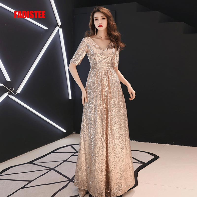 FADISTEE New Vestido De Festa Sweet gold Lace sequins V-neck Long   Evening     Dress   Bride Party Sexy belt A-line Prom   Dresses