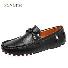 Män Skor Loafers Äkta Leatehr Kör Mockasiner XGVOKH Märke Herr Casual Black Fashion Boat Skor för Man