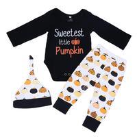 3pcs Autumn Baby Halloween Clothes Set Infant Toddlers Letter Pumpkin Print Romper+Long Pants+Hat Set Baby Leisure Outfits Suits