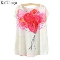KaiTingu 2015 New Fashion Vintage Spring Summer T Shirt Women Tops Print T-shirt Balloon Printed White Woman Clothes
