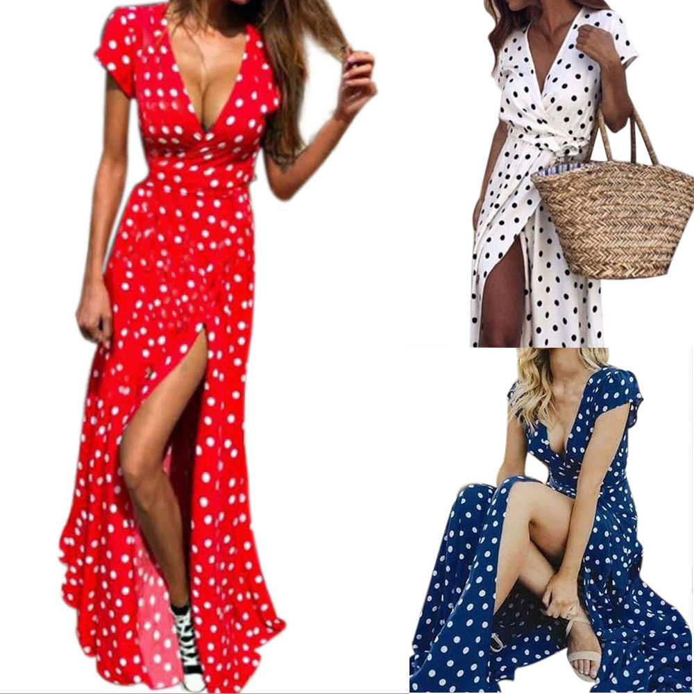 2019 женское летнее пляжное длинное платье в горошек в стиле бохо, вечернее сексуальное платье с v-образным вырезом и высокой талией, Макси платье с разрезом