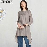 SCHMICKER Women Lace Neck Buttons Back Open Asymmetric Hem Blouse Shirts 2018 Casual Loose Long Sleeve