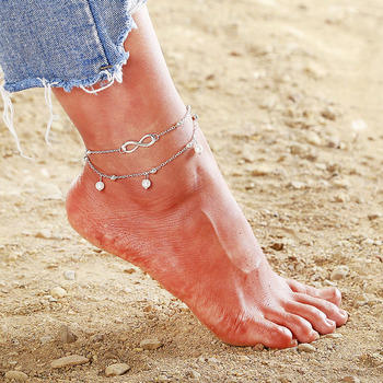 NS67 Bohemian Anklets For Women Summer Beach Jewelry Trendy Starfish Double Layer Chain 3