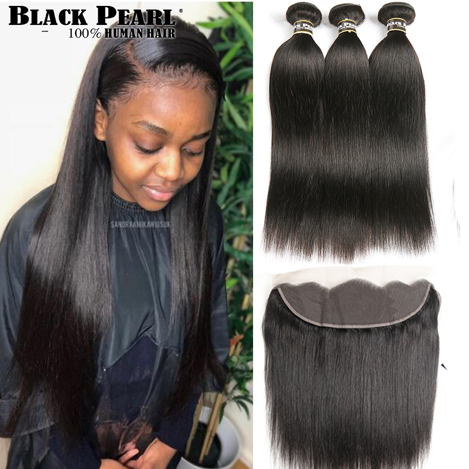 Black Pearl Brazilian Straight Hair Lace Frontal Closure With Bundles Non Remy Human Hair With Frontal