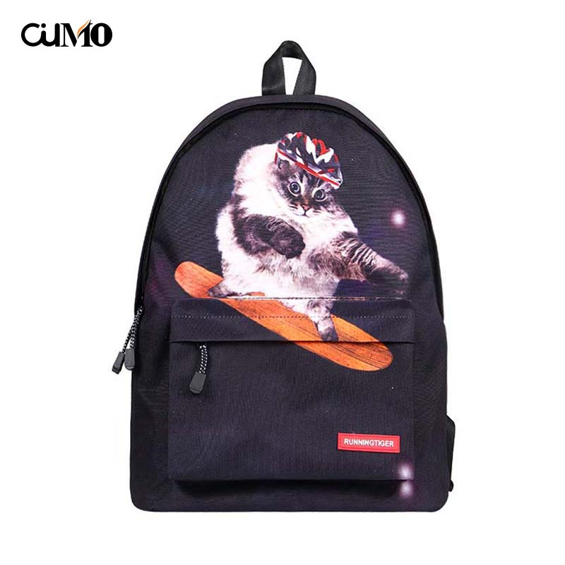 Ou Mo brand Animal Cat laptop anti theft backpack feminina Women school Bag teenagers man computer Backpack