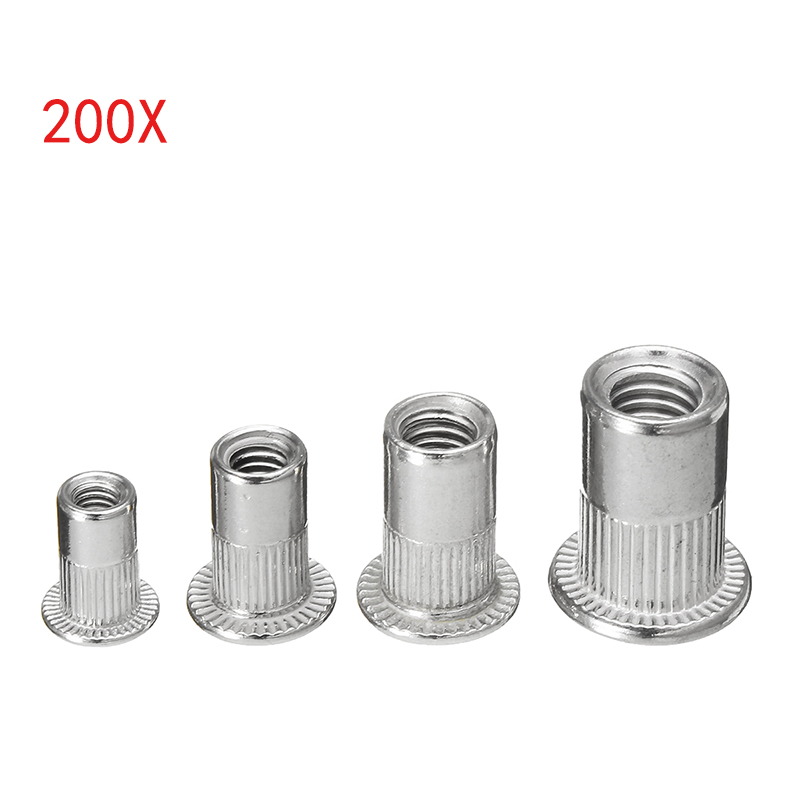 200Pcs Insert Rivet Nut 304 Stainless Steel Countersunk Head 50pcs Each Rivet Nuts M3/M4/M5/M6 Flat Head Aluminum Rivet Nut недорого