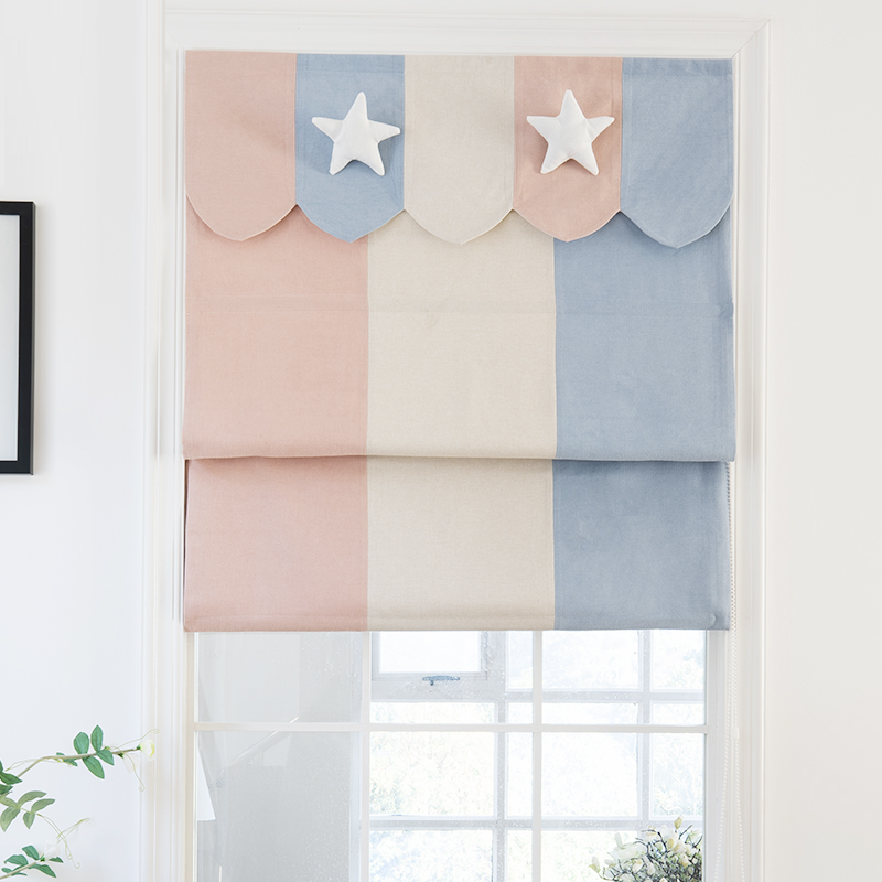 Nordic Star Cartoon Studio Children's Room Floating Curtains for Boys Girls' Room Roman Curtains Lifting Shading Roller Blinds