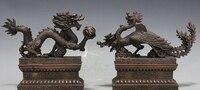 Chinese Royal fengshui pure Bronze copper auspicious Dragon phoenix Statue
