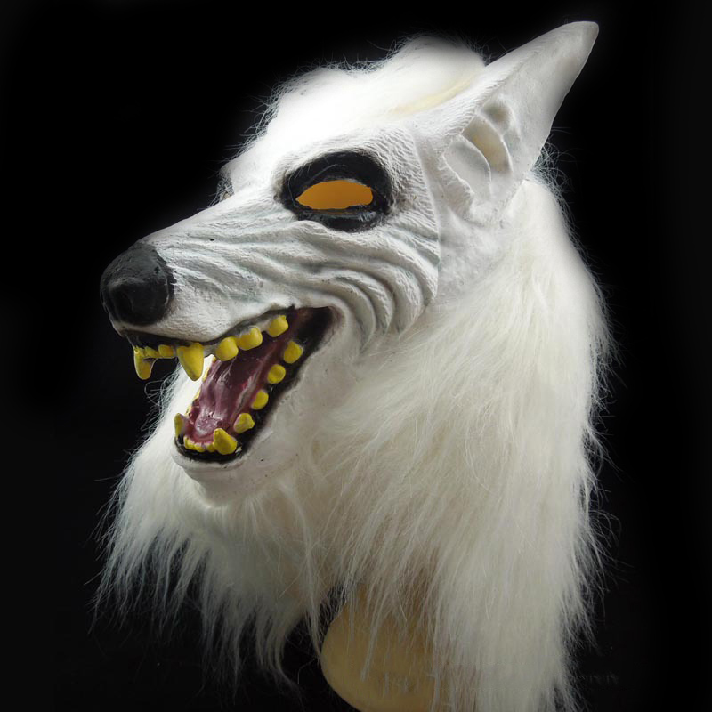 scary white wolf full face masquerade masks realistic halloween adult soft leather mask animal werewolf cosplay - Wolf Halloween