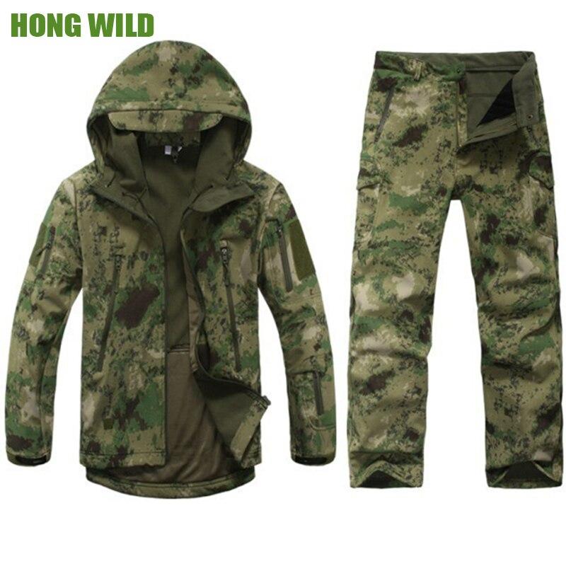 High quality Army Camouflage Men Military Tactical Jackets Men Waterproof Windbreaker Raincoat combat suit coat +pants