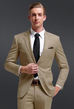 Little Fresh Notch Collar Men Suits Khaki Groomsmen Suit For Beach Wedding 2017 Young Men's Normal Work Wear(Jacket+Pants+Tie)