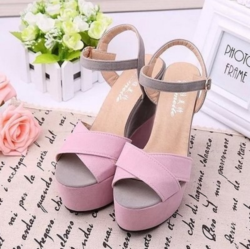2018 summer fashion new platform sandals cross open toe wedge with color Roman high heels. 13