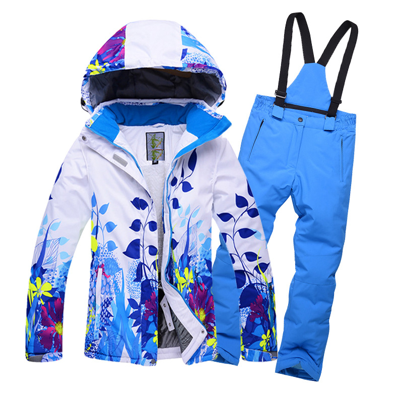 New 2018 Children's Clothing Winter Sports Suit for Girls Ski Jacket Pants 2pcs Sets Outdoor Boys Ski Sports Winter Suit Thicker sticker winter sports